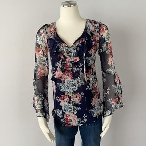 NWT WHBM Floral Print Sheer Blouse Size 0